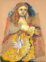 Menachem Gueffen (b. 1930), Woman, Oil on Jute, 130x97 cm, signed