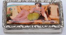 Austrian Silver Snuff Box with Enameled Picture