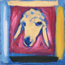 Signed Menashe Kadishman's Oil on Canvas Sheep