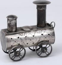 Antique Silver Spice Box Locomotive Shape 19th Century