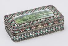 Russian Enameled Silver Snuff Box, St. Petersburg 1894