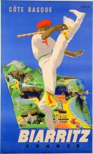 French Travel Poster, Biarritz By Eric, 1950's