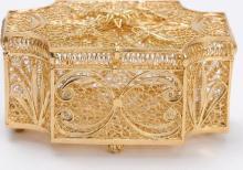 European 800 Silver Gold-plate Box Exceptional Filigree