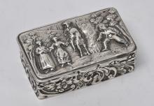 Beautiful Dutch, Silver Relief Snuff Box, late 19th c.