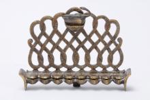 Antique Copper Oil Hanukkah Lamp by Nordia 1950's including a Shomash - Rare