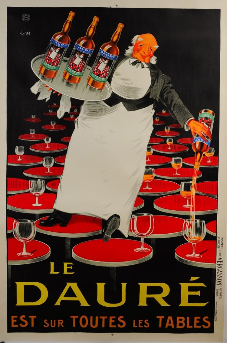 French Alcohol Advertising Poster ?Le Daur? ap?ritif? Lotti Reprint 1980's