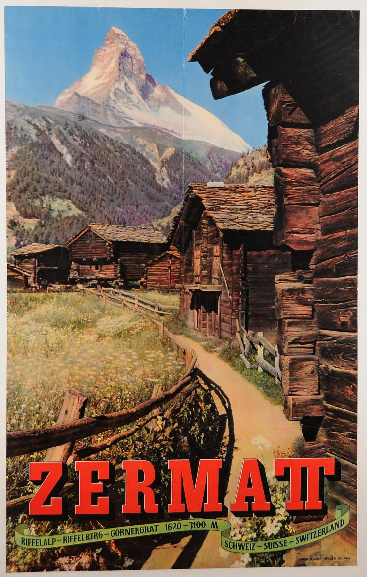 Original Vintage Swiss Travel Poster for the 'Zermat' Mountain Village 1950's