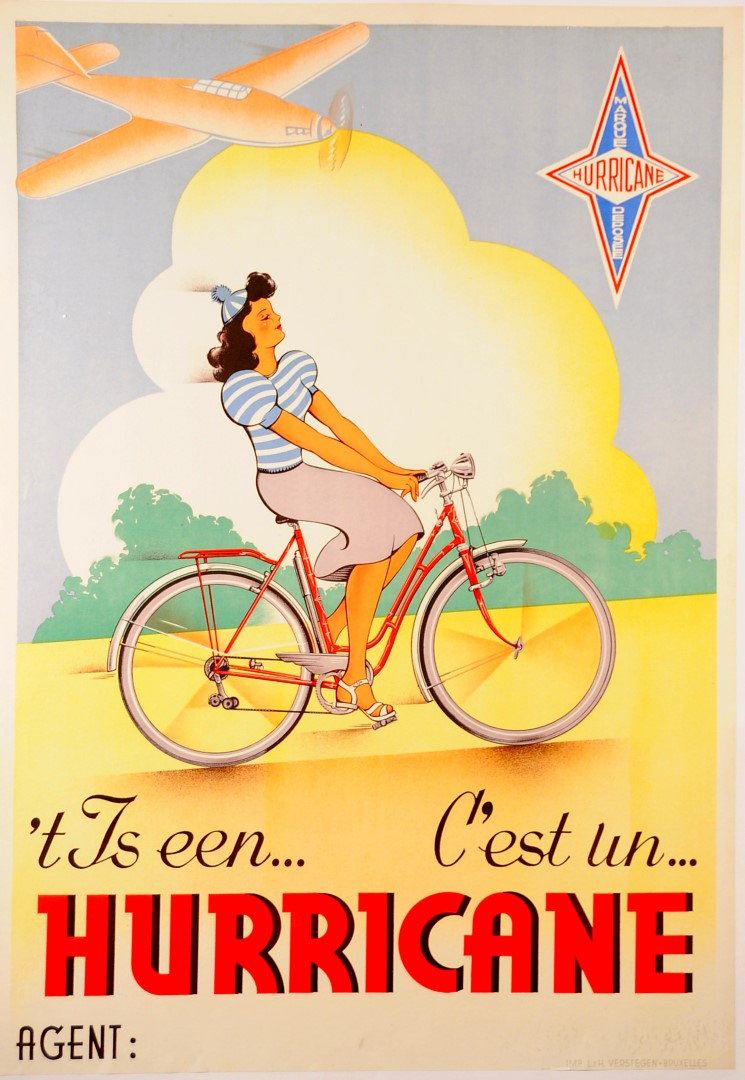 Original Vintage Belgian Poster Advertising Bicycles