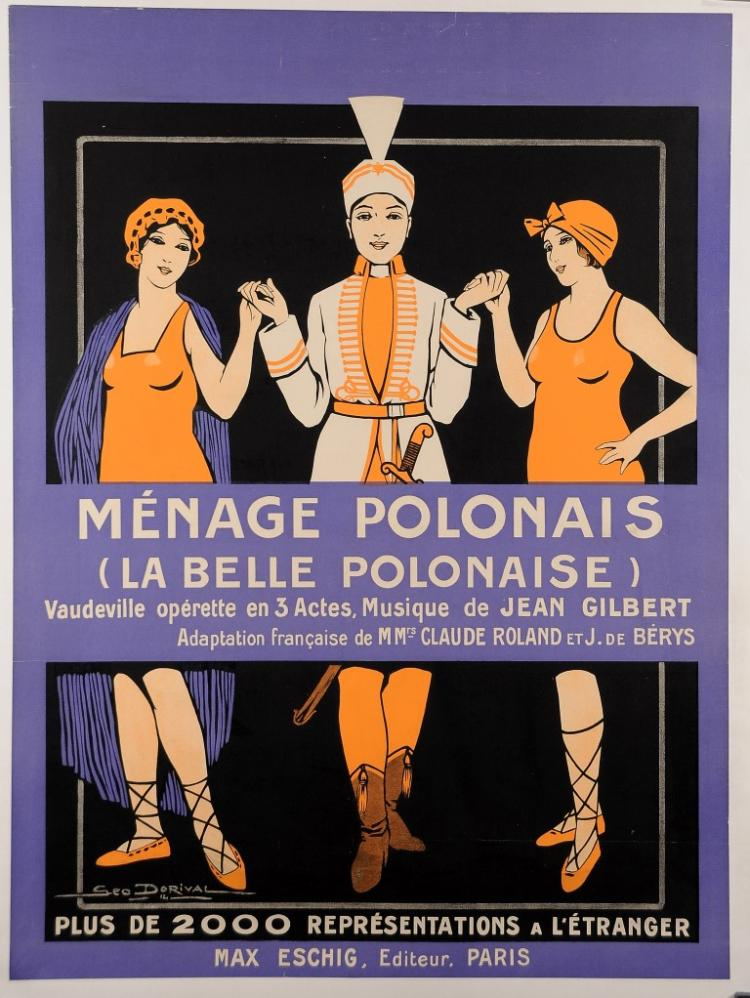 Original French Operetta Vintage Poster ?M?nage Polonaise? by Dorival 1914