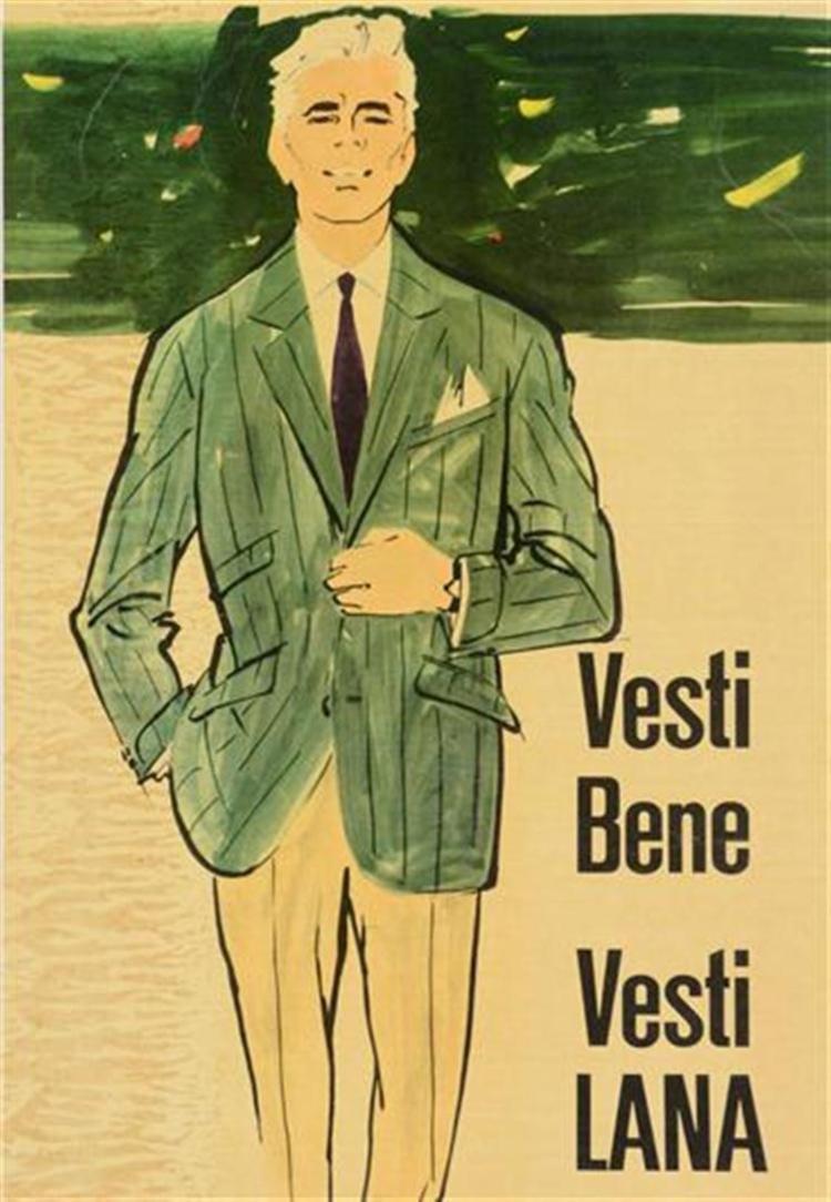 Italian Vintage Advertisement Poster - Vesti Bene Vesti LANA - 1950's