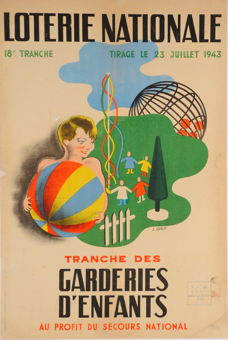 Original Advertising Poster ?Loterie Nationale? ?Garderies D?enfants? L. Carlo?1943