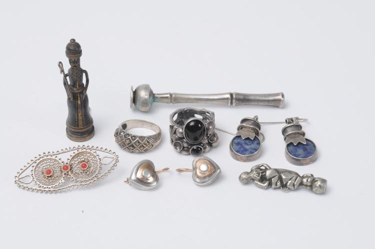 Lot of silver jewlery and objects including a bronze figure