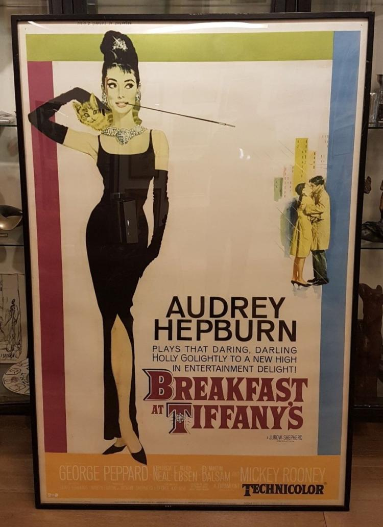 "Original Vintage Movie Poster ""Breakfast at Tiffany's"" 1961 Hepburn. Framed, On board. 60 x 39 inches. (International shipping: $550)."
