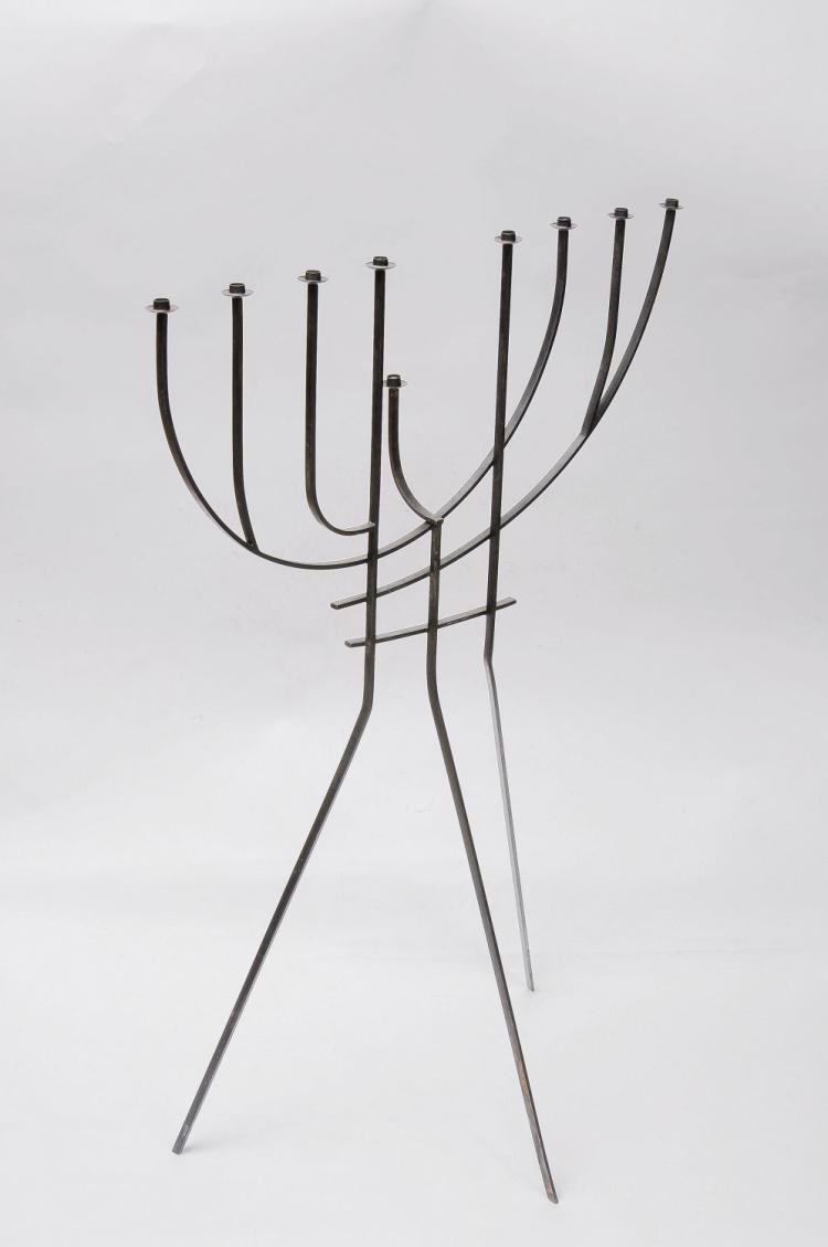 Lot Large Copper Hanukkah Lamp By The Renowned Modern Judaica Silversmith Ludwig Wolpert 1950 S 60 S Hand Made Signed At The Bottom Of The Frontal Leg Wolpert Jerusalem Israel Height 98 Cm Width
