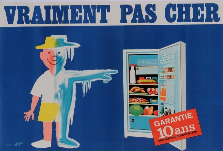 original french poster vraiment pas cher fridge savignac c. Black Bedroom Furniture Sets. Home Design Ideas