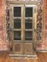 Antique Oriental Wood & Iron Display Cabinet