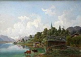 Lueger, Michael 1804-1883, Voralpenlandschaft, am