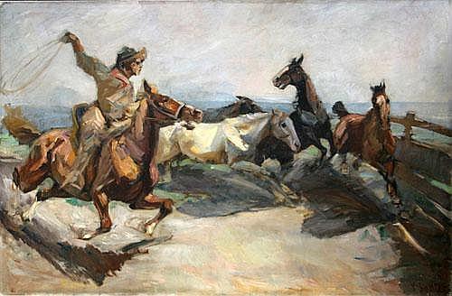 Sattler, Hermann 1892-1945, Cowboy beim Einfangen