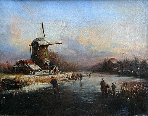 Kirstein, Adolf 1814-1873, Winterlandschaft mit