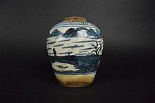 Chinese Blue & White Jar with Unique Picture