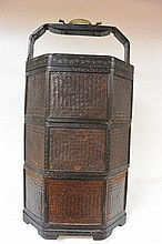 A plaited bamboo antique Chinese lunch box