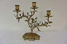 A decorated bronze lamp