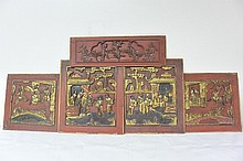 Carved ancient wood with traditional characters