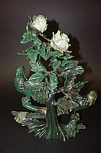 Green Jade Carving of Birds and Flowers