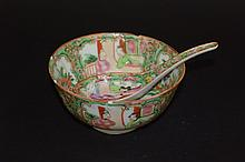 Chinese famille-rose bowl and a spoon