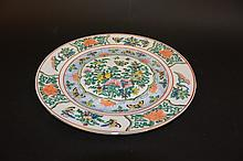 Chinese famille rose butterfly plate Sealed