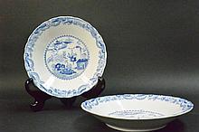 Pair blue & white landscape plates