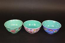 Three famille-rose bowls Sealed