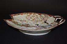 Fan-shaped Japanese Famille Rose Plate