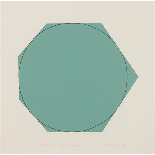 ROBERT MANGOLD - Distorted Circle Within a Polygon (Green), 1973