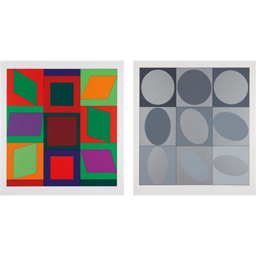 VICTOR VASARELY - Lapidaire: two prints; and Diaf: one print, 1968