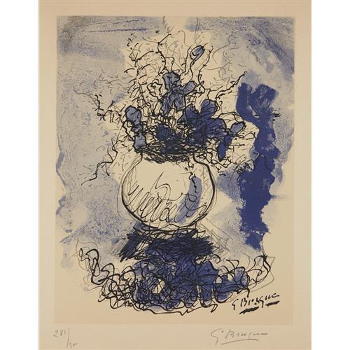 GEORGES BRAQUE - Bouquet. Fleurs à l'aquarelle, 1957