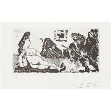 PABLO PICASSO - Vieux beau saluant très bas une pupille de la Célestine (Old Man Bowing to Celestine's Pupil), plate 113 from La série 347, 1968