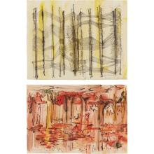 DOROTHY DEHNER - Untitled (black/yellow); and Untitled (red/black), 1955 and 1959