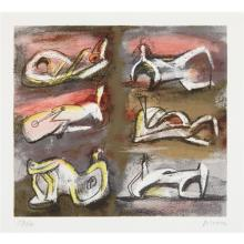 HENRY MOORE - Six Reclining Figures with Red Background, 1981