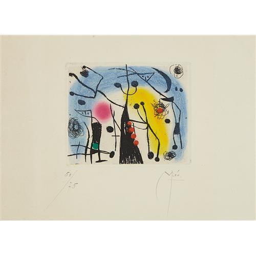 JOAN MIRÓ - Les magdaléniens (The Magdalenians), 1958