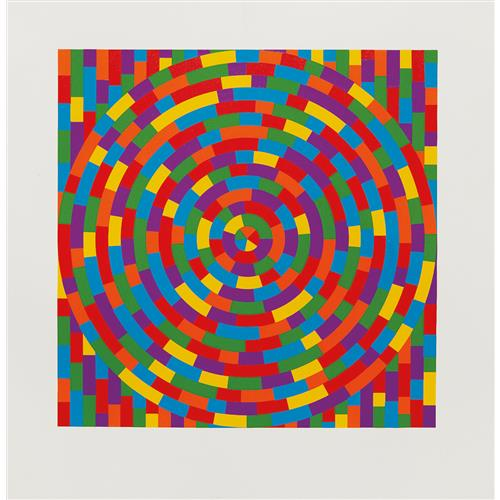 SOL LEWITT - Circle with Broken Bands Within a Square, 2003