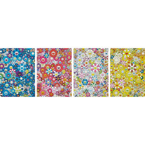 TAKASHI MURAKAMI - An Homage to Yves Klein, Multicolor C; An Homage to Monogold 1960 C; An Homage to Monopink 1960 C; and An Homage to IKB 1957 C, 2012