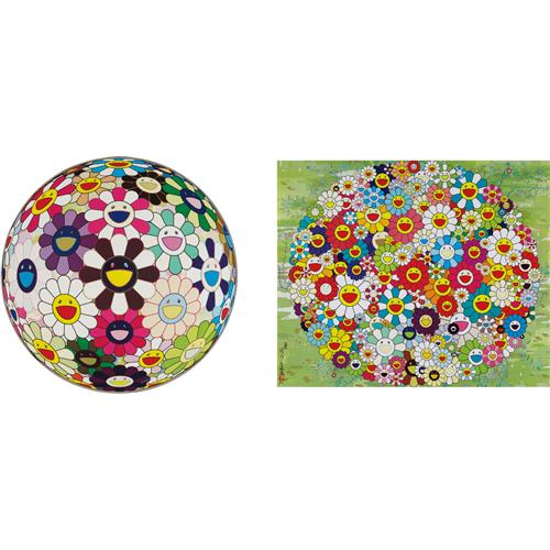 TAKASHI MURAKAMI - Open Your Hands Wide; and Flowerball Brown, 2007-10