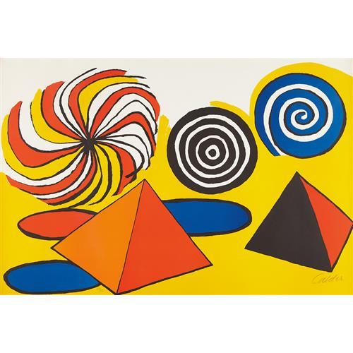 ALEXANDER CALDER - Untitled (Pinwheels and Pyramids), circa 1970