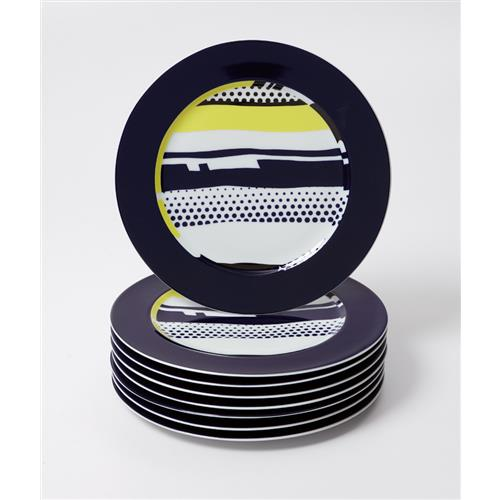 ROY LICHTENSTEIN - Eight abstract service plates, 1990