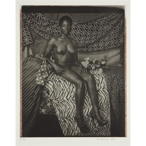 MICKALENE THOMAS - Portrait of Marie Sitting in Black and White, 2012