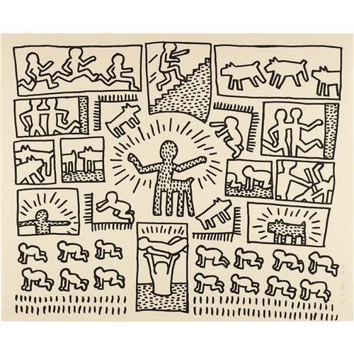 KEITH HARING - Blueprint Drawing: one plate, 1990