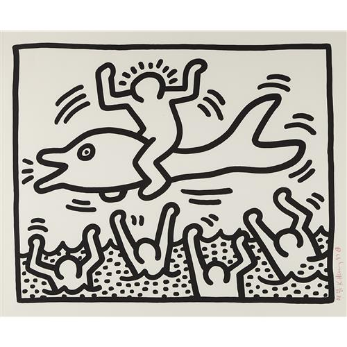 KEITH HARING - Untitled (Man on Dolphin), 1987