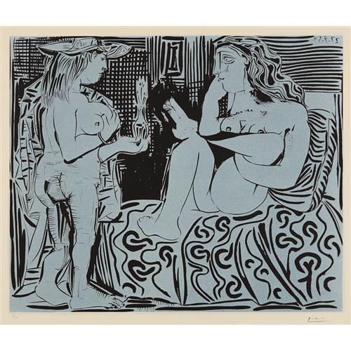 PABLO PICASSO - Deux femmes avec un vase à fleurs (Two Women with a Vase of Flowers), 1959
