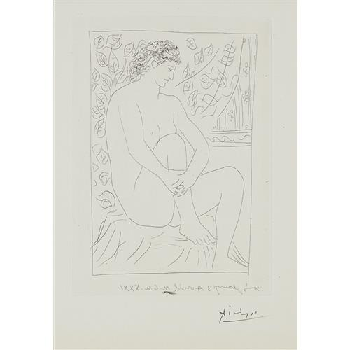 PABLO PICASSO - Femme nue assise devant un rideau (Nude Woman Sitting in Front of a Curtain), plate 4 from La suite Vollard, 1931